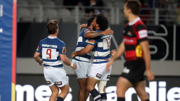 Auckland celebrate Vince Aso's first half try against Canterbury at Eden Park on Friday night.