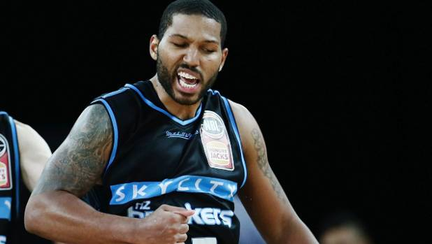 DJ Newbill enjoys the moment after sinking the Sydney Kings with a shot on the buzzer in their Australian NBL match at ...
