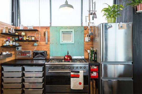 In This Eclectic Industrial Kitchen, Corrugated Cladding From An Old Garage  Is Used As A