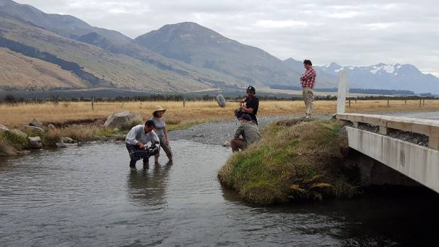Seven Rivers Walking crew film Fish & Game's Scott Pearson at a key spawning site on the Rakaia River which is currently ...