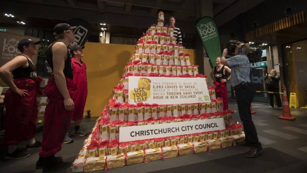 Students build giant bread tower to highlight food wastage