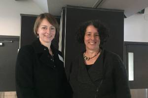 Science leader of the Scion research team Heidi Dungey, right, and senior research officer, forest genetics, Nathalie ...