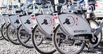 Share bikes ready for riders at the 2017 Social Enterprise World Forum in Christchurch in September.