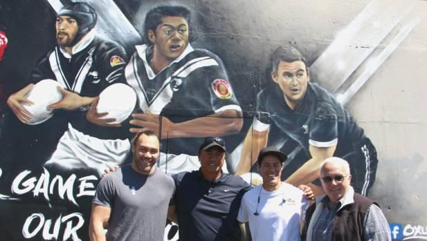 Wairangi Koopu, Tawera Nikau, mural artist Bobby MacDonald and Lance Hohaia's father Rex Hohaia.