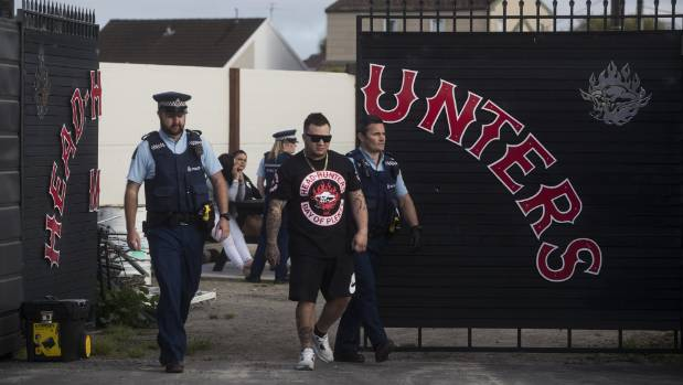 Armed police raided the Christchurch Head Hunters' pad on Vickerys Rd early on Friday morning.