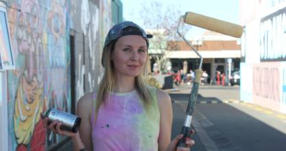 Auckland-based muralist Adore (aka Emily Gardener) prepares for three days of painting at the Graffiato festival in ...