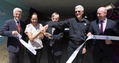 The Cobham Drive underpass was opened  by, from left, Tim Macindoe, Parekawhia McLean, Martin Gallagher, Peter Crosby ...