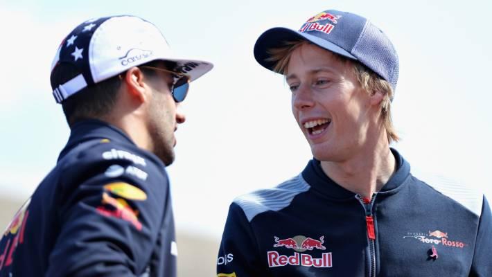 d6c6095dfc5 Brendon Hartley (right) rubs shoulders with Australian F1 driver Daniel  Ricciardo ahead of the
