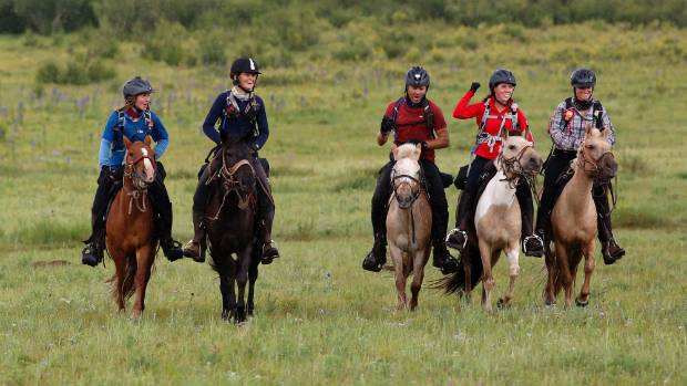 Many riders compete in the Mongol Derby to win, others just for the experience. Far left is Marie Palzer, a New ...