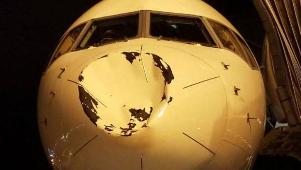 OKC Thunder flight from Minneapolis hit... something, plane gets big-ass dent