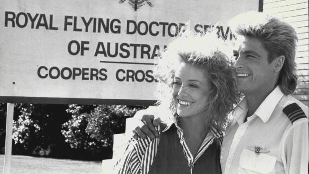 Rebecca Gibney with Peter O'Brien on the set of The Flying Doctors.
