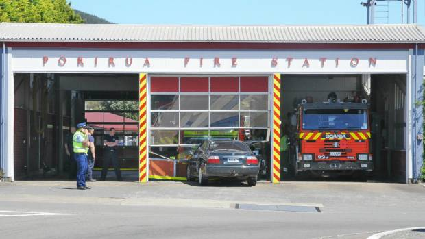A witness saw firemen pulling a guy out of the passenger side of a Honda Accord that crashed in Porirua Fire Station on ...