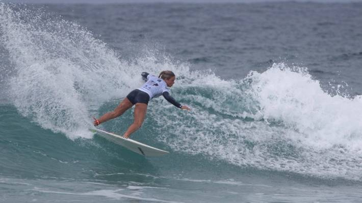 fe620ff890 Paige Hareb surfed well to reach the quarterfinals of the Port Stephens NSW  Pro.
