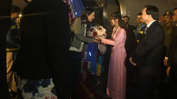 Prime Minister Jacinda Ardern is welcomed to Vietnam as she steps onto the tarmac