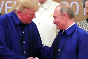 US President Donald Trump with Russian President Vladimir Putin.