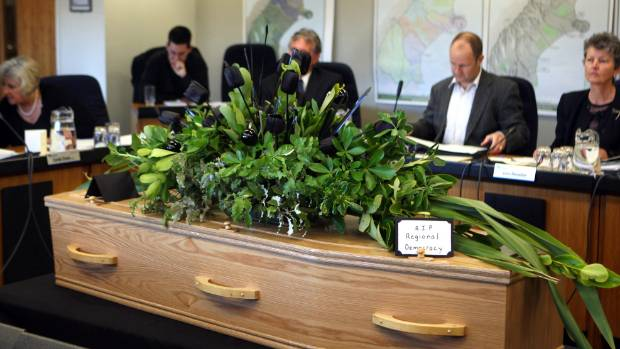The last meeting of a fully-elected Environment Canterbury in 2010. The casket symbolised the death of democracy.