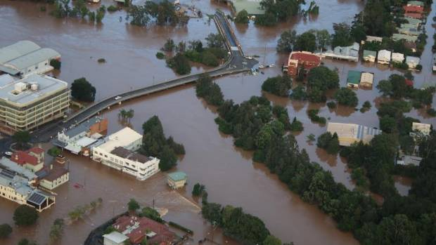 Aerial photos of Lismore showing flooding from the aftermath of Cyclone Debbie.
