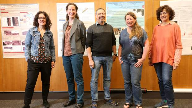 Geologists, from left, Caroline Orchiston, Ursula Cochran, Thomas Rockwell, Phaedra Upton and Daniela Pantosti spoke at an international earthquake conference in Blenheim this month.