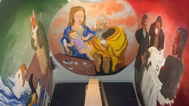 """Madeline Thompson's three-wall mural """"tea time"""" in a stairwell of the PSUSI building."""