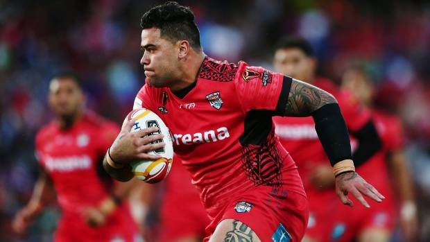 Tonga's Andrew Fifita on the charge at the Rugby League World Cup.