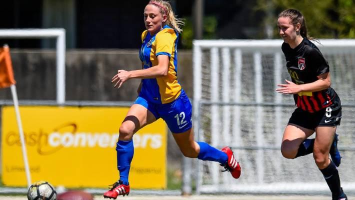 Southern s Ellie Isaac eludes Canterbury United Pride defender Tahlia  Herman-Watt during their national women s 900e94c531