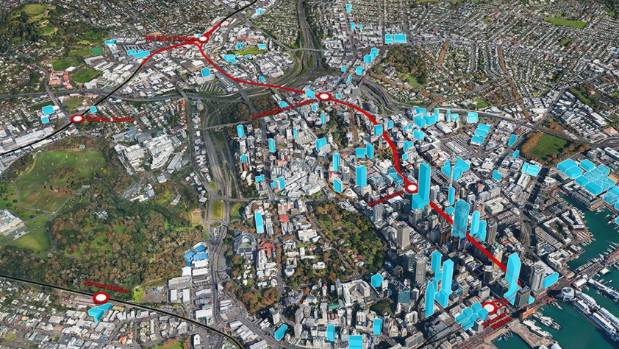 The planned City Rail Link, in red, will decrease the time it takes to commute by train to downtown Auckland. Houses ...