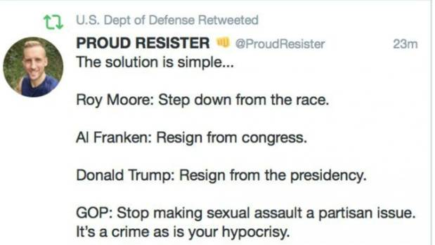 Pentagon accidentally retweets call for Trump, Franken and Moore to resign