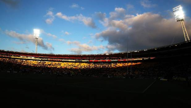 The sun sets over Westpac Stadium during the Rugby League World Cup Quarter Final between New Zealand and Fiji