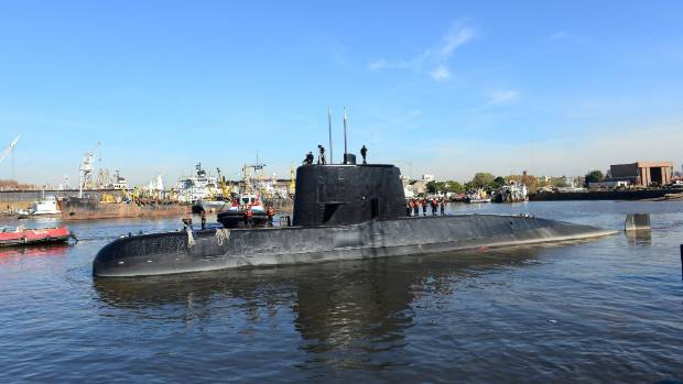 The Argentine military submarine ARA San Juan and crew leaving the port of Buenos Aires in 2014