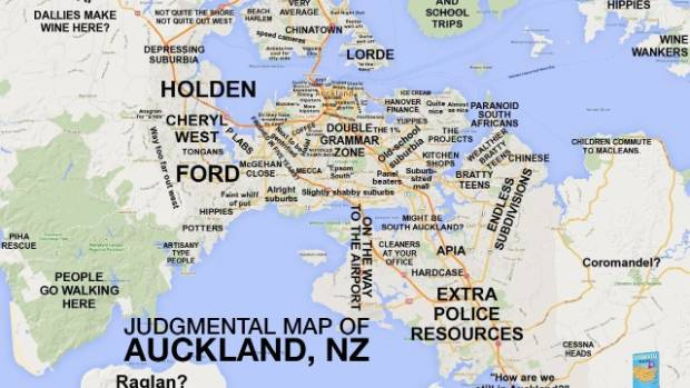 Auckland gets judgmental maps treatment stuff map gains traction as aucklanders relate to descriptions gumiabroncs Image collections