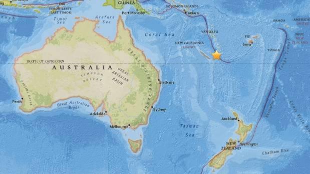 Natural disaster strikes off the coast of Australia near New Caledonia
