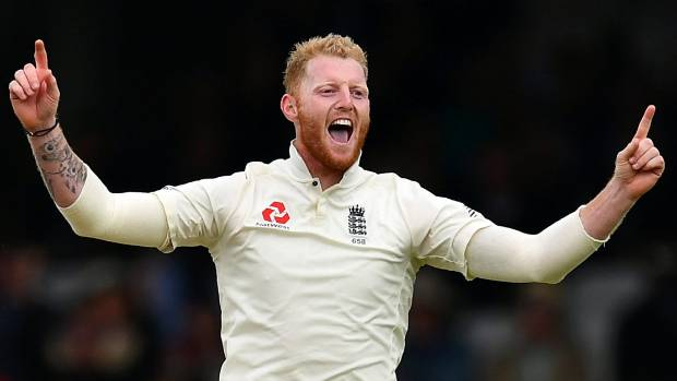 Ben Stokes celebrates taking a wicket against the West Indies