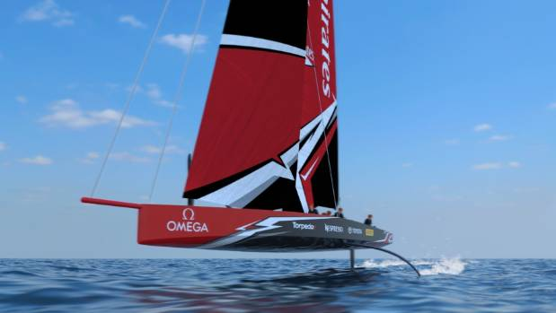 A concept drawing of the foiling monohull to compete in the next America's Cup.