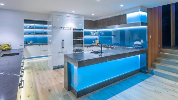 this highly futuristic kitchen designed by mal corboy features glass splashbacks backlit with led lighting - Futuristic Kitchen