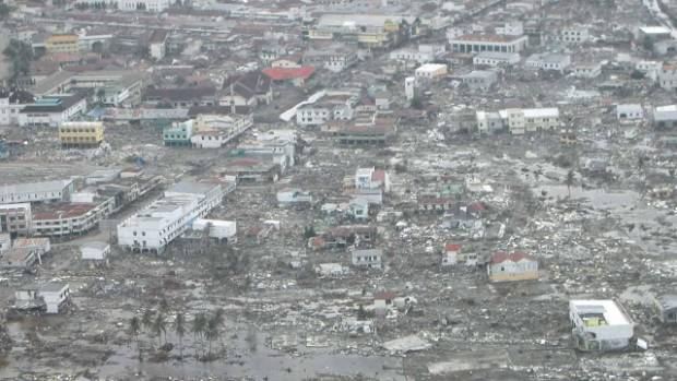 A megathrust Boxing Day earthquake in 2004 caused the tsunami that damaged the city of Bandeh Aceh, Sumatra, Indonesia.