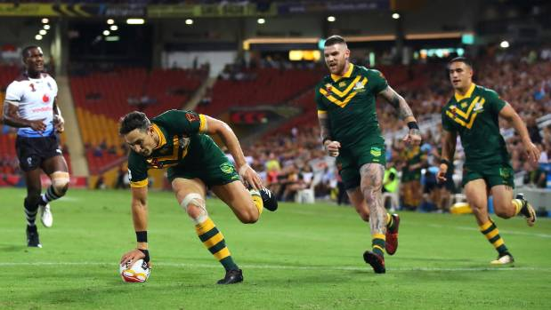 Billy Slater scored one of the Kangaroos four tries in the first half against Fiji