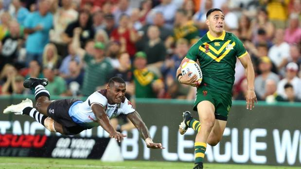 Holmes bags 6 tries as Australia ends Fiji's World Cup dreams