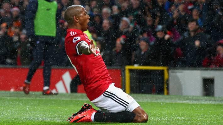 6282359b3 Ashley Young of Manchester United celebrates scoring the winning goal  against Brighton.