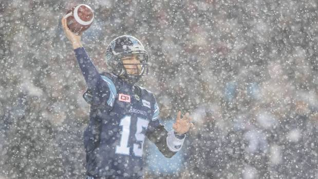 Toronto Argonauts 38-year-old quarterback Ricky Ray completed 19-of-32 passes for 297 yards despite the heavy snow