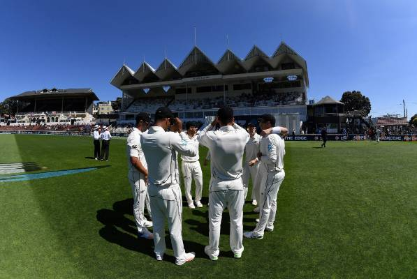 The Black Caps players huddle ahead of the first test against the West Indies in Wellington.