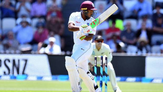 First ball in test cricket, and West Indies batsman Sunil Ambris treads on his stumps against New Zealand's Neil Wagner ...