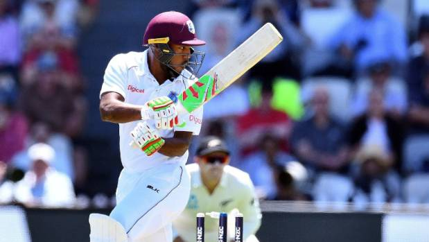 West Indies batsman Sunil Ambris was out hit wicket off the bowling of Neil Wagner in the first test in Wellington
