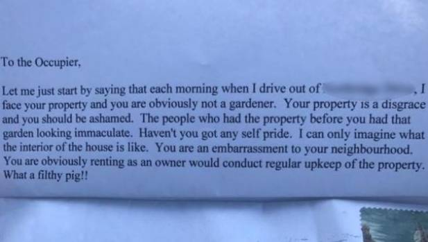 you filthy pig perth man shocked by nasty neighbour letter about