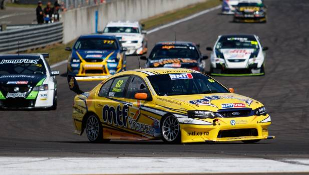 Chelsea Herbert leads the first class 2 BNT V8 series race, which she won, as well as the series, at the Speedworks ...