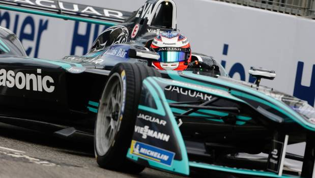 Mitch Evans power his Jaguar through a corner during the Hong Kong ePrix