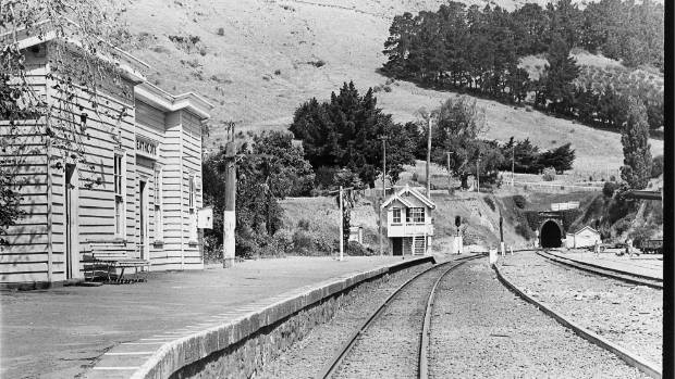 Heathcote Valley rail station, signal box and the rail tunnel to Lyttelton, January 1981.