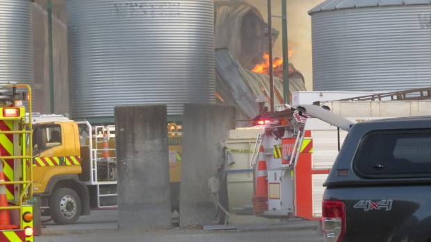 Firefighters battled the large fire at SealesWinslow feed plant just south of Ashburton.