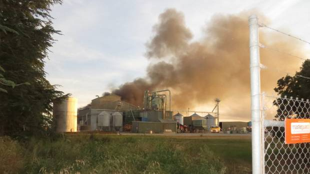 The fire covered at least half of the 5000-square-metre processing plant.