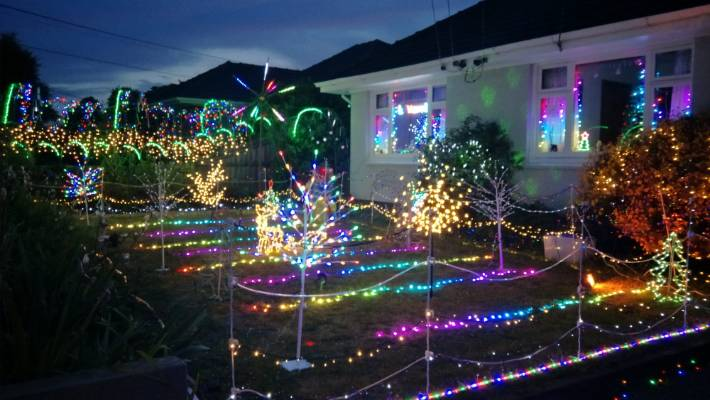 lukes family have been putting on an extensive christmas light show at their home for years