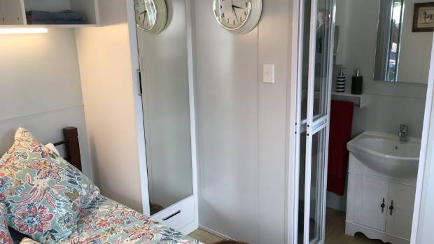 Tiny home ensuite. The caravan park plumbing and wiring connections can be detachable, or more permanent fittings in ...